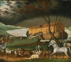 biblical painting of animals on noahs ark