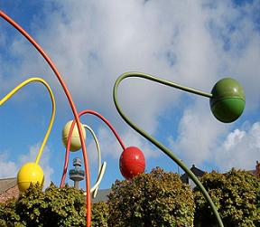 Unusual art sculpture of colored balls by jorge pardo penelope