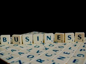 the word 'business' in scrabble letters