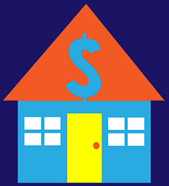 Coloroful graphic image of house with dollar symbol