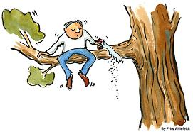 cartoon of man cutting tree branch he is sitting on