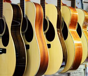 Accoustic guitars in a row