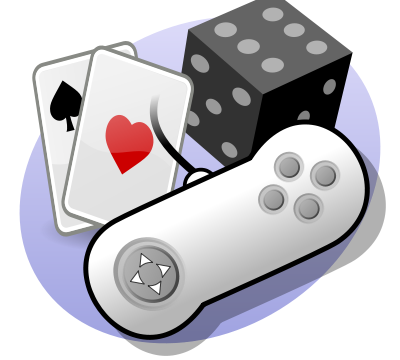 Cartoon graphic of playing card, dice and video game controller