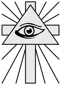 The all seeing eye pyramid symbol and the Christian cross