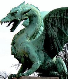 ancient green dragon statue