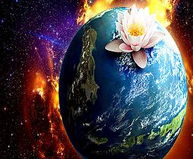 earth in cosmos with lotus flower