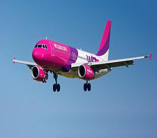 Pink airplane Airbuss 320-200 Wizz Air